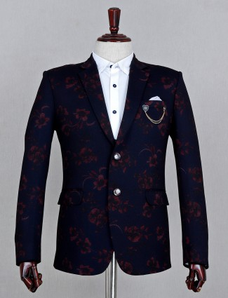 Navy terry rayon solid party wear mens blazer