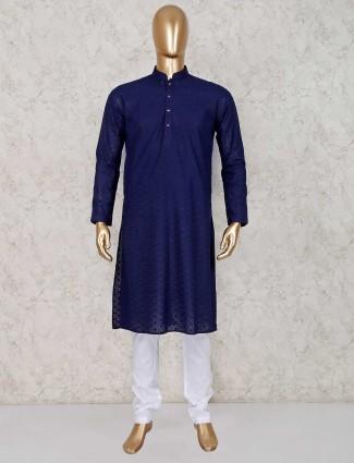 Navy thread work cotton kurta suit
