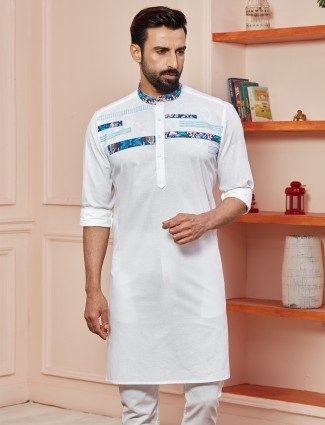 Navy tint printed kurta in cotton for festive