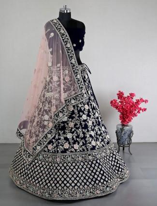 Navy velvet unstitched lehenga choli for wedding