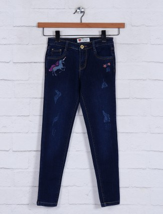 Navy washed skinny fit girls jeans