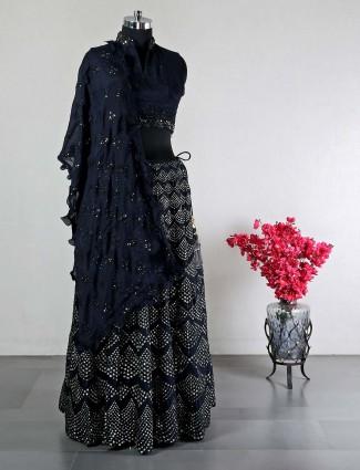 Navy womens silk lehenga for reception