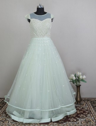 Net green wedding and party ceremonies gown