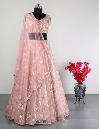 Net peach wedding lehenga choli