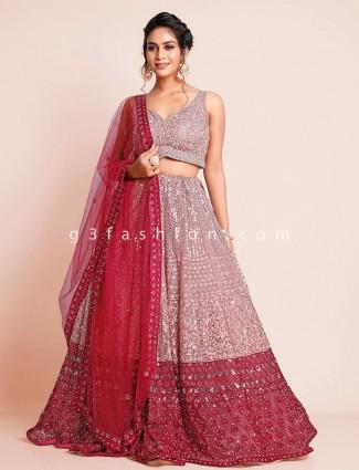 Net peach wedding occasions lehenga choli