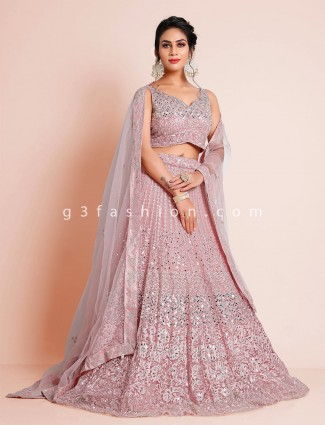 Net pink lehenga choli for wedding
