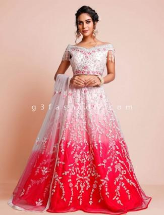 Net pink wedding lehenga choli