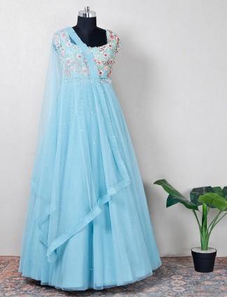 Net sky blue wedding anarkali suit