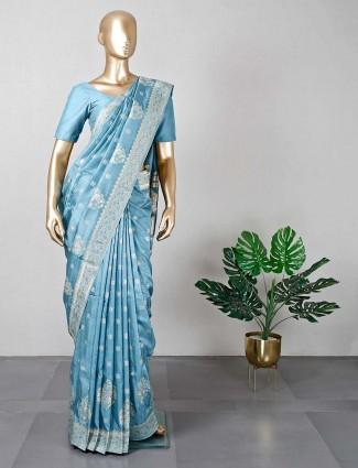 New blue wedding wear silk saree