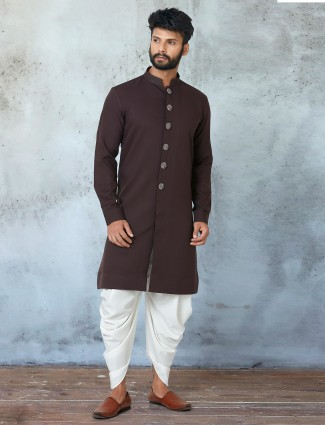 New coffee tint festive wear kurta suit for mens