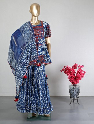 New cotton blue sharara suit for wedding