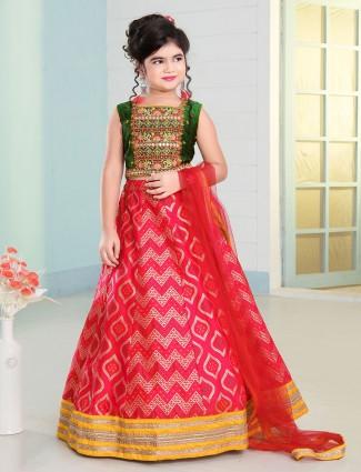 New green silk lehenga choli for girls