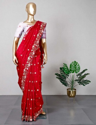 New maroon cotton silk saree for wedding days