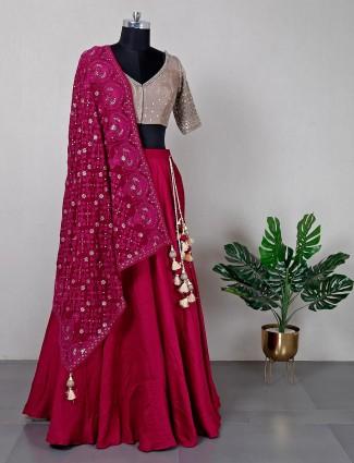 New maroon raw silk wedding wear lehenga choli