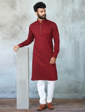 New maroon shade cotton kurta suit for mens