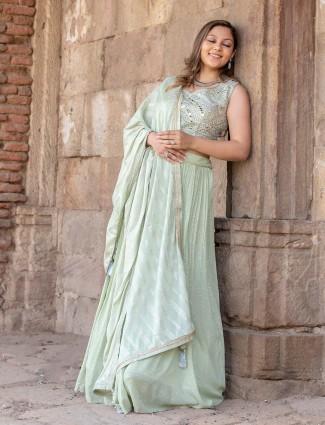 New pista green georgette wedding wear lehenga choli