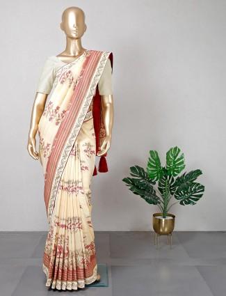 New yellow cotton saree for festive