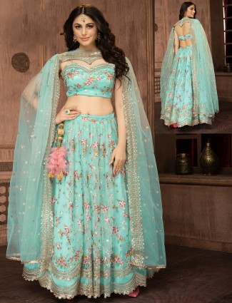Ocean blue tissue silk wedding occasions lehenga choli