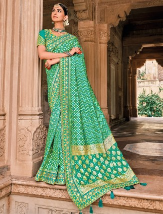 Ocean green bandhej patola silk wedding events saree