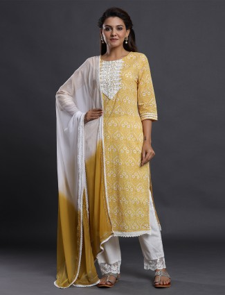 Ochre yellow cotton printed festive wear punjabi style pant suit