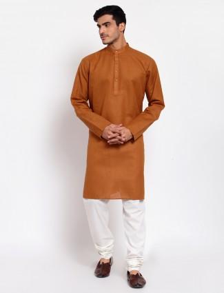 Ochre yellow hue festive wear kurta suit