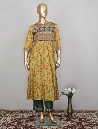 Ochre yellow hue festive wear pant suit in printed style