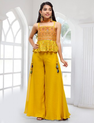 Ochre yellow hue wedding wear palazzo suit with thread work details