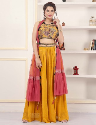 Ochre yellow palazzo suit for wedding with contrast shade odhani