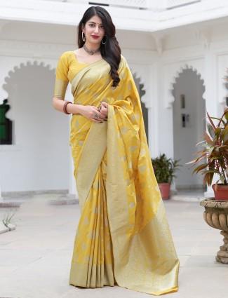 Ochre yellow pretty banarasi silk wedding saree