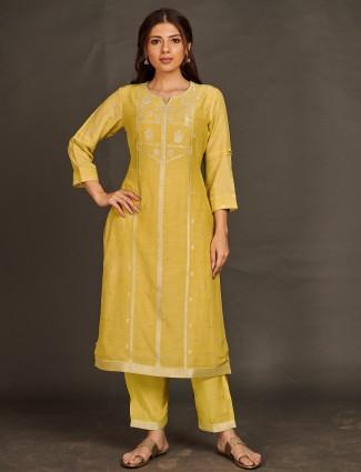 Ochre yellow tint festive wear pant set for women