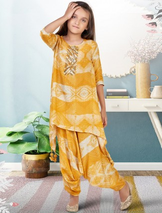 Ochre yellow wedding events girls dhoti suit in georgette