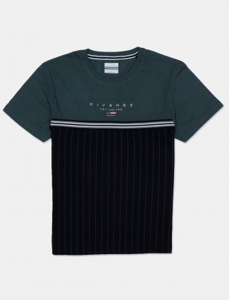 Octave black and green stripe mens t-shirt