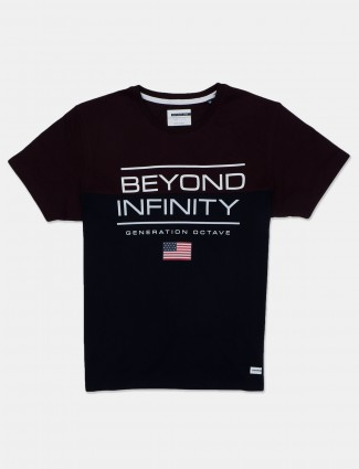 Octave black and maroon printed cotton t-shirt