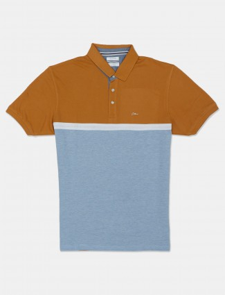 Octave blue and mustard yellow mens printed polo t-shirt