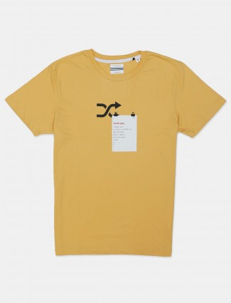 Octave casual wear printed yellow cotton t-shirt