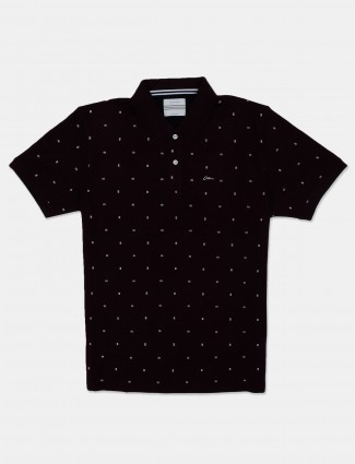 Octave maroon printed cotton casual polo t-shirt