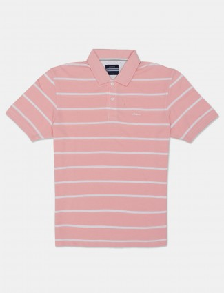 Octave mes pink stripe polo t-shirt