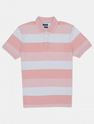 Octave pink printed mens stripe polo t-shirt