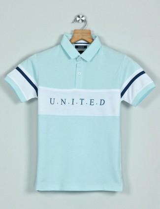 Octave printed aqua cotton casual wear polo t-shirt