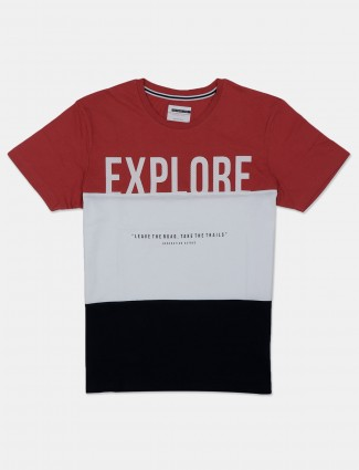 Octave printed spiced coral and white cotton t-shirt
