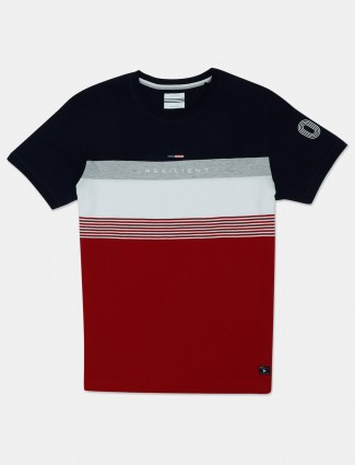 Octave red and navy printed cotton t-shirt