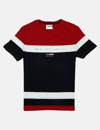 Octave round neck stripe red and black t-shirt