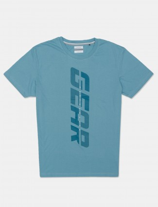 Octave slim fit printed blue t-shirt for men in cotton