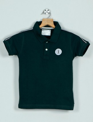 Octave solid green cotton polo t-shirt