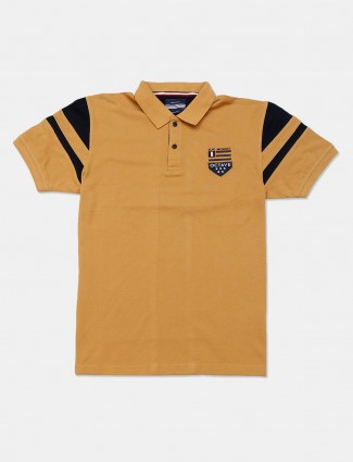 Octave solid mustard yellow slim fit polo t-shirt
