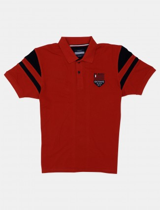 Octave solid red cotton casual polo t-shirt
