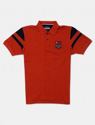Octave solid rust orange casual t-shirt