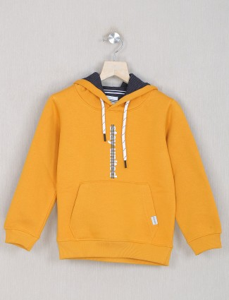 Octave solid style yellow hoodies in cotton