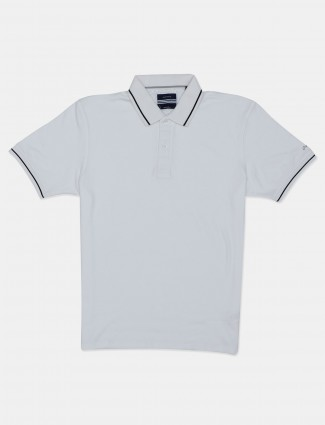 Octave solid white cotton polo t-shirt