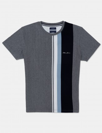 Octave stylish grey cotton casual t-shirt for men